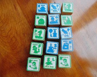 Wooden Blocks. SESAME STREET. toy blocks. educational. toy. vintage. 1970s. 1980s. Block. Alphabet. 15 pcs. stenciled blocks.