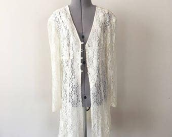 Vintage 90s Long White Lace Blouse, Lace Coat, Sheer Top, Sheer Blouse, Lace Jacket, Lace Robe, Size S
