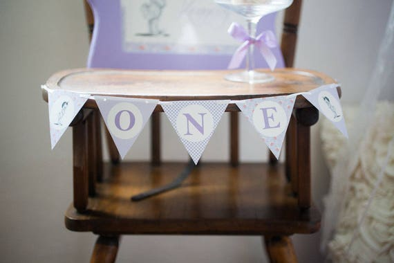 Lavender and Lace First Birthday Mini Banner - READY TO SHIP