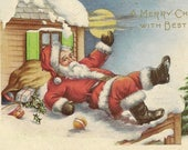 Unused Vintage Whitney Christmas Postcard Santa Falls On Snow Covered Rooftop Lightly Embossed Holiday Ephemera