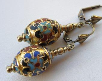 Cloisonne Earrings Vintage Gold Enamel Chinese Lantern Earrings Vintage Japanese Turquiose Blue Oriental Cloisonne Gold Earrings Asian