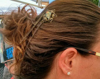 Hair jewelry hair pins hair accessories snoods crowns hair decorations hair net with Van Gogh stained glass Bobby pins brockus creations