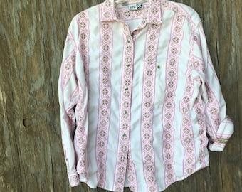Vintage Pink Striped Boyfriend Shirt