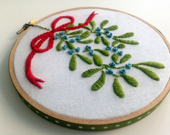 "Mistletoe hand embroidered by mlmxoxo.  Christmas holiday decoration.  6"" hoop art.  red and green.  holiday decor.  Free Shipping."