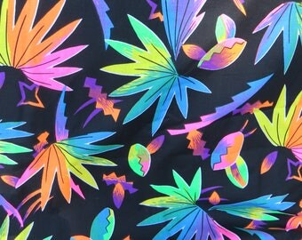 NeonTropical Fabric Cotton Fabric Black with Neon Color Tropical Flowers Marcus Bros. Textiles One Yard Cotton Quilting or Sewing Material