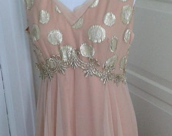 ON SALE 60s 70s Nude and Gold Gown, Dress, Chiffon, Embroidered, Bolero Jacket, Wedding, Prom, Size M/L