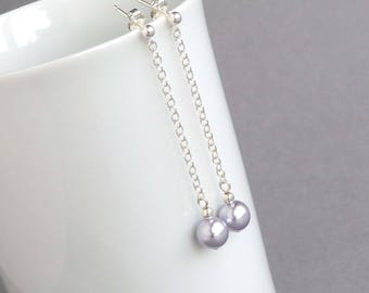 Long Lavender Pearl Earrings - Lilac Pearl Chain Drop Earrings - Lavender Pearl Bridesmaid Earrings - Wedding Jewellery - Bridal Party Gifts