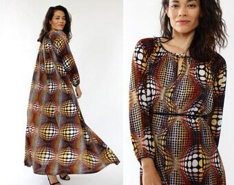 70s Maxi Dress • Vintage Caftan • Psychedelic Dress • 70s Disco Dress • Tent Dress • Summer Maxi Dress • Flowy Dress | D1098