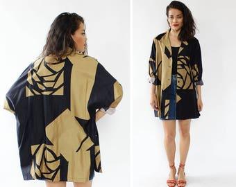 Catherine Ogust Duster Jacket • 70s Jacket • Vintage Jacket • Cotton Jacket • Graphic Print Kimono Duster • Boho Jacket | O379