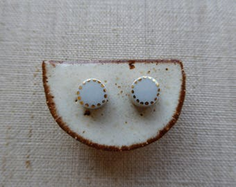 2 Tone Short Cake Stud Earrings SALE