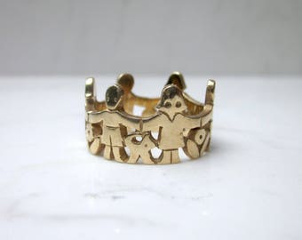 """Retired James Avery 14k Solid Yellow Gold """"Paper Doll"""" Ring, Size 7"""