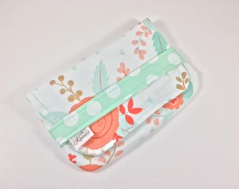 Sanitary Pad Holder, Tampon Case Coral Mint Floral