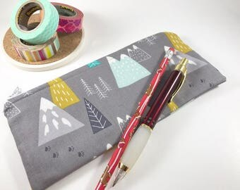 Gray Pencil Case, Pencil Pouch, Journal Accessory Bag, Mountains Zippered Pouch