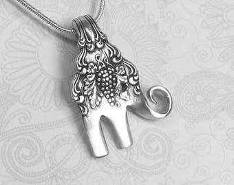 Baby Elephant Fork Necklace, Antique Cocktail Fork Pendant, Elephant Necklace, 'Moselle' 1906