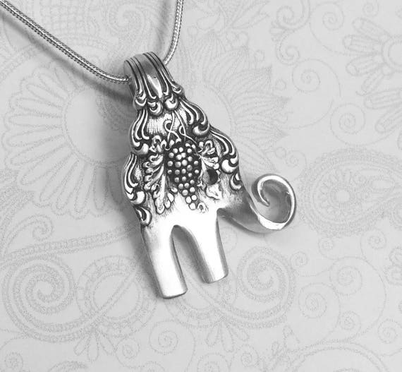 Baby Elephant Fork Necklace, Antique Cocktail Fork Pendant, Elephant Necklace, 'Moselle' 1906