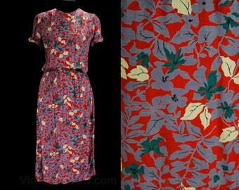 Size 8 Floral Dress - 1930s Inspired Crepe Dress - Tropical Salmon Pink Periwinkle Purple Cobalt Blue - 1980s Era - Waist 25 to 30 - 49530