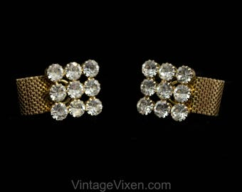 Bling Bling Cufflinks - 1960s Men's Cuff Links - Big Bold Rhinestones & Gold Tone Metal - Gentleman's Accessories For French Cuffs - 50531
