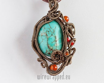 OOAK Turquoise howlite wire wrapped pendant