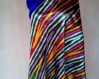 Uzbek vintage silk ikat fabric Han atlas 2 meters. VI038