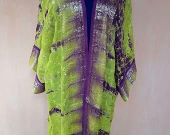 Crepe georgette silk robe. Leheria kaftan, silk cardigan, silk robe, bohemian kaftan, tribal coat