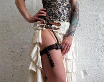 Premium Leather Garter Belt - Brown - steampunk - burning man - festivals - apocalypse, Please read Description for size