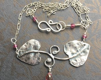 Sterling Silver Leaf Necklace Pink Topaz Necklace A Midsummer Night's Dream Peaseblossom