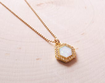 Hexagon Opal Necklace | Boho Jewelry | Summer Trends | October Birthstone | Birthday Gift | Opal | Layering Necklace | Fashion Jewelry