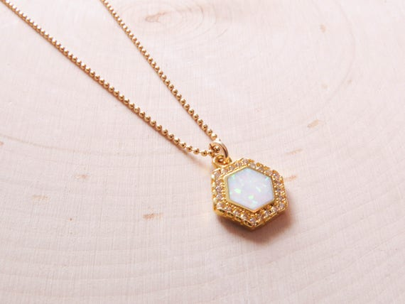 Hexagon Opal Necklace