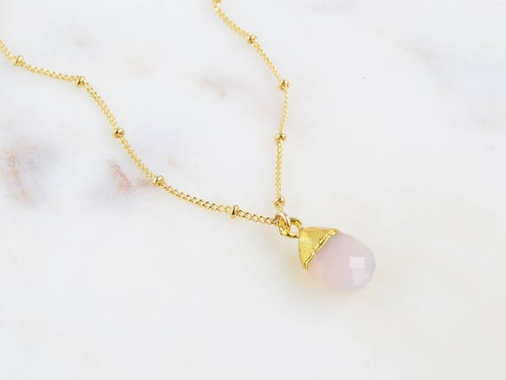 Pink Opal Necklace | Delicate Opal Necklace | Tiny Opal Necklace | October Opal Necklace | Dainty Opal Necklace | Birthstone Necklace | Gift