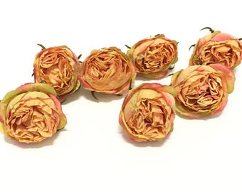 7 Large CORAL PEACH Real Touch Cabbage Roses - Artificial Flowers, Silk Flowers, Flower Crown, Hair Accessories, DIY Wedding, Mllinery, Hat