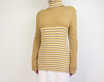 VINTAGE Sweater 1970s Turtleneck Striped Knit Top Long Yellow