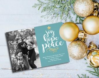 Joy, Hope & Peace Holiday Photo Card