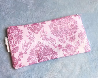 Pencil Case/Cosmetic Bag - Pink Glitter Damask  - Pink Damask Pencil Case - Pink cosmetic bag - Pink Glitter birthday Gift - Ready to ship