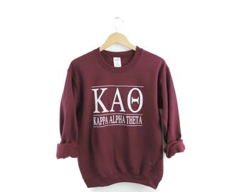 New Kappa Alpha Theta Maroon & More Stripe Crewneck Sweatshirt // Size S-3XL // You Pick Color