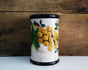 Vintage Hand Painted Tuscan Crock / Vase, Utensil holder