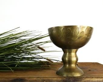 Vintage Etched Brass Footed Bowl / Chalice / brass boho decor