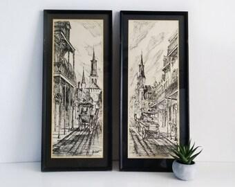 Al Federico New Orleans Prints, Set of 2 / Signed & Framed Art