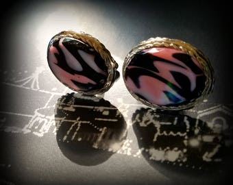 Pink and Black Art Glass Cuff Links