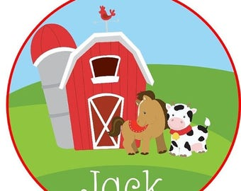 SALE : CHRISTMAS IN July Sweet little farm boy Barn and animals Iron on