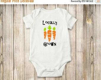 ON SALE Locally Grown, Onesie, Bodysuit, Carrots, Baby Clothing, Shirt, Farm
