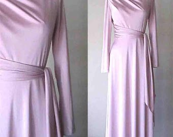 Vintage 1970's Hal Ferman dress PINK CHAMPAGNE evening gown - S/M