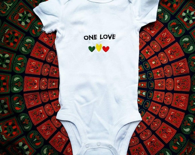 Bob Marley One Love Custom Baby Embroidered Onesie Unisex Bodysuit Boys or Girls Jam Band Baby Clothing