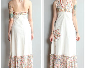 1970s Dress // Flower Maxi Halter Dress // vintage 70s dress