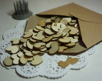 12g Tiny Natural Wood Love Hearts  approx. 15mmx13mm ~ *Table Scatters *Embellishments