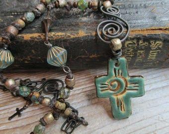 Turquoise Cross necklace Swirl design