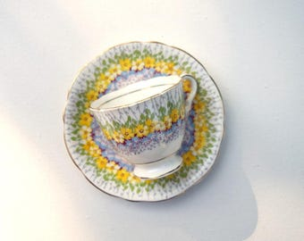 Demitasse tea cup and saucer set Royal Stafford Glendale bone china England vintage teacup coffee espresso cup yellow blue floral demi cup