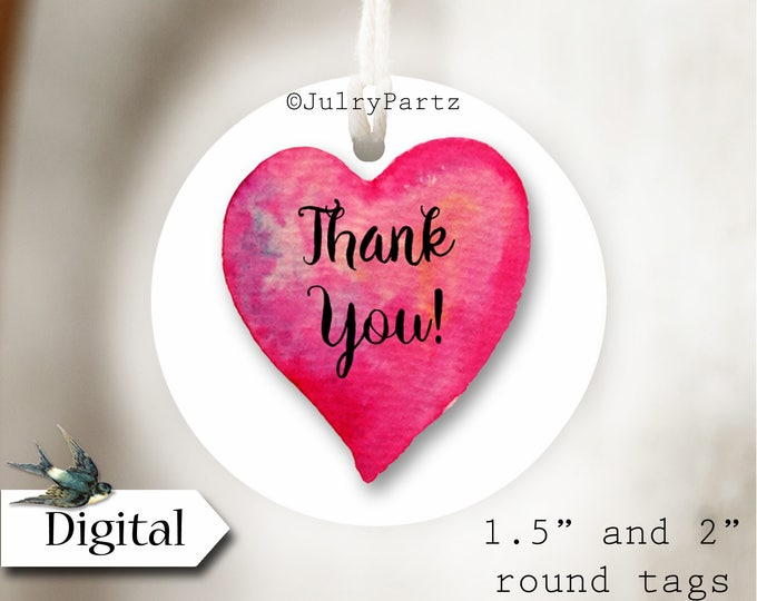 DIY PINK HEART•Thank You Tags•Printable Tags•Digital Tags•Favor Tags