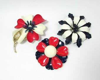 Enamel Large Flower Brooches - Three Pins - Red White & Blue - c 1960s