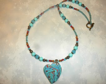 One Of A Kind Pretty Composite Sea Sediment Jasper Heart Necklace