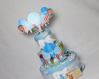 Hot Air Balloons Baby Diaper Cake Girls or Neutral Shower Gift Centerpiece